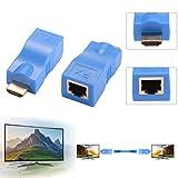 HDMI Extender, 1080 P zu RJ45 Ethernet Netzwerk Signal Extender Sender und Empfänger Adapter über Single CAT6 Kabel 100ft / 30m für HDTV HDPC STB