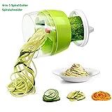 Fun Life Gemüseschneider 4 in 1 Spiralschneider Gemüsehacker, Obstschneider, Kartoffelschneider, Zwiebelschneider, Food Dicer für Nudeln Zucchini Gurke Karotten Kürbis Zwiebel (A01)