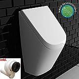 VitrA Pure Style Urinal mit VitrAhygiene + Deckel + Urinal-Absaug-Siphon | Zulauf & Ablauf von hinten | Pissoir mit Antibakterielle Beschichtung | Urinal aus robuster Keramik | für perfekte Hygiene