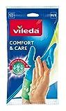Vileda Comfort und Care Gummihandschuhe mit Kamille Lotion Größe M, 1 Paar