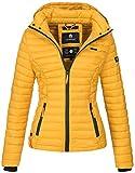 Marikoo Damen Jacke Steppjacke Übergangsjacke mit Kapuze gesteppt B600 [B600-Samt-Gelb-Gr.M]