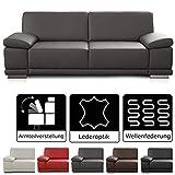 CAVADORE 2,5-Sitzer Sofa Corianne in Kunstleder / Kleine Leder-Couch in hochwertigem Kunstleder und modernem Design / Mit Armteilfunktion / 191 x 80 x 99 / Kunstleder grau