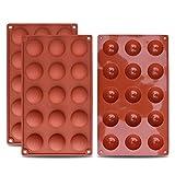 homEdge Kleine Halbkugel-Silikonform mit 15 Vertiefungen, 3 Packungen Backform zur Herstellung von Schokolade, Kuchen, Gelee, Dome-Mousse