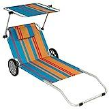 Nexos Gartenliege Sonnenliege Liegestuhl Klappliege mit Rädern und Sonnendach klappbare Liege aus Alu und Polyester – Bespannung bunt – Gestell grau