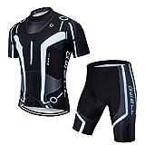 GWELL Herren Radtrikot Atmungsaktive Fahrradbekleidung Set Trikot Kurzarm + Radhose mit Sitzpolster für Radsport Schwarz (Set mit Shorts) 2XL