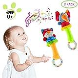 UiDor 2 Pack Greifling zum Rasseln,Cartoon Tier Baby Rassel Kleinkind Weiche Baby Musikinstrumente Sensorisches Spielzeug Niedliches Kuscheltier Spielzeug für Baby 0 3 6 9 12 Monate