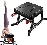 REXUS Yoga Kopfstandhocker, umgekehrte Yoga-Hocker für das Fitnessstudio, Yoga-Stuhl, beweglicher umgekehrter Stuhl mit Armlehnen und dicken Schulterpolstern, geeignet für zu Hause(schwarz)