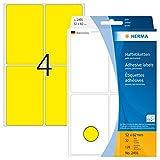 HERMA 2491 Vielzweck-Etiketten groß (52 x 82 mm, 32 Blatt, Papier, matt) selbstklebend, permanent haftende Haushaltsetiketten zur Handbeschriftung, 128 Haftetiketten, gelb