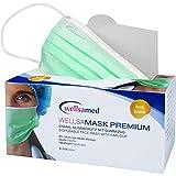 wellsamed wellsamask medizinischer Mundschutz, Mund und Nasenschutz, OP-Masken, Einweg, 50 Stück, Grün, CE/EN 14683 Typ IIR (Typ 2R) 3-lagig