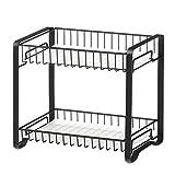SONGMICS Gewürzregal mit 2 Ebenen, Küchenregal aus Metall, mit Kunststoffplatten, rutschfeste Füße, leicht zu montieren, für Arbeitsplatte, Speisekammer, Bad, Küche, schwarz KCS013B01
