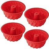 Silikon Gugelhupfform Ø 15 cm BPA-frei Silikon Backform für Köstlichen Gugelhupf Antihaft & Leicht zu Reinigen hochwertige Silikon Kuchenform 4 Stück von WENTS
