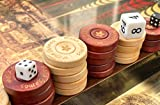 Melia Games Backgammon Zubehör 32mm - Spielsteine aus Holz - Standardgröße 32 x 7 mm - Ersatz-Set inklusive Beutel aus Nubuk-Echtleder - Farbe: Whiskey