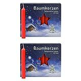 OLShop AG 2er Pack Baumkerzen rot ca. 13 x 105 mm (2 x 20 Stück) Weihnachtskerzen, Christbaumkerzen, Pyramidenkerzen