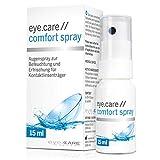 eye.care –Hyaluron Augen-Spray gegen trockene Augen 15ml, unkonserviert, für Kontaktlinsen, auf das geschlossene Auge sprühen–Alternative zu Augentropfen