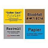 4 Mülltrennung Aufkleber Gelber Sack Restmüll Altpapier Biomüll 15 x 10 cm Recycling