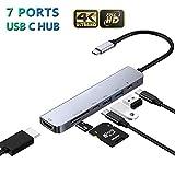 Micoo USB C Hub, 7 in 1 USB C Multiport Adapter Dockingstation USB-C Hub, mit 4K HDMI, 2 USB 3.0 Ports, Thunderbolt 3, Type C Buchse, SD/TF-Kartenles, Kompatibel MacBook Pro/Air, More Type C Gerätemit
