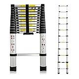 3,8M Teleskopleiter, Rutschfester Klappleiter Mehrzweckleiter Aluminium, 150 kg/330 Pfund Belastbarkeit, Mehrzweckleiter für Dachboden/Kletterdach/Büronutzung/Baujob