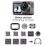 DJI Osmo Action Charging Combo - Digitalkamera mit Zubehör-Kit enthalten, 2 Bildschirmen, wasserdicht bis zu 11 m, integrierte Stabilisierung, Foto und Video in 4K HDR bei 100 Mbit/s - Schwarz