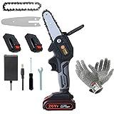 Mini-Kettensäge, 5.3-Zoll-Akku-Kettensäge, 2 Batterien und Bürstenloser Kettensägenmotor, Elektrische 26-V-Handsäge mit einem Gewicht von 0,7 kg, ein Paar Anti-Schnitt-Handschuhe