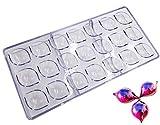 Pralinenform für Süßigkeiten, 21 Mulden in Diamant-Form, transparenter Kunststoff, Polycarbonat (PC),Backform, Kuchendekoration. zitronengelb