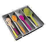 mDesign Besteckkasten mit vier Fächern – ausziehbarer Besteckeinsatz für Schubladen ordnet Küchenutensilien – Schubladen Organizer für diverse Utensilien – dunkelgrau