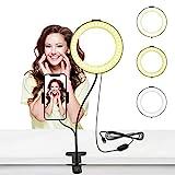 LED Selfie Ringlicht, 6 Zoll Live Licht Ringleuchte mit Handyhalter 3 Leuchtmodi & 10 Helligkeitsstufen für Live Streaming, Videosschooting, Selfie Portrait, Schminken, Kochvideos-Aufnahme