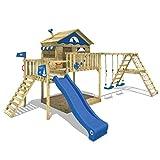 WICKEY Spielturm Klettergerüst Smart Ocean mit Schaukel & blauer Rutsche, Stelzenhaus mit Sandkasten, Kletterleiter & Spiel-Zubehör