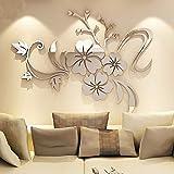 Asvert Spiegel Aufkleber 3D Wandaufkleber Fenster Abziehbilder Wand Dekoration TV Hintergrund Deko Wandtatoo - Spiegelfläche Blumen