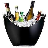 YOBANSA 8L Eimer Champagner Eimer,Eis Eimer, Acryl große Eiskübel, Küchenobst und Gemüse Vorratsbehälter Behälter(Black)