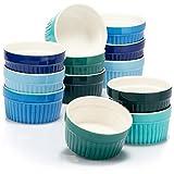 COM-FOUR® 12x Soufflé Förmchen - Creme Brulee Schälchen aus Keramik - Ofenfeste Förmchen - Dessertschale und Pastetenförmchen für z.B. Ragout Fin - je 200 ml - in verschiedenen Grün- und Blautönen