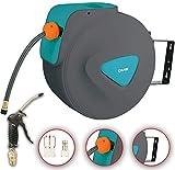 DMS® Druckluftschlauch Aufroller Automatik Schlauchtrommel EU 1/4 Trommel Wandschlauchhalter Schlauchaufroller Druckluftschlauch-Aufroller Druckluftschlauch-trommel DST (10 Meter, Blau)