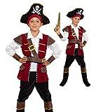 Magicoo Kapitän Piratenkostüm Kinder Jungen Rot/Schwarz/Gold Gr. 104 bis 146 - Fasching Pirat Kostüm Kind (128/134)