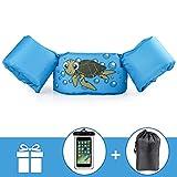 kacai Schwimmflügel mit Sicherheitsgurt Schwimmhilfe, für Kinder von 2-6 Jahre 10-30kg Schwimmanfänger hautfreundliche kein Aufblasen erforderliche Schwimmweste (Schildkröte)