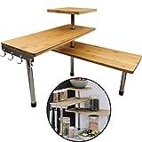 MYNE Bambus Küchenregal Eckregal - Regal aus Bambusholz und rostfreiem Edelstahl - Einfache Montage - Bambusregal mit 4 Haken