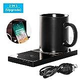 Kaufam Tassenwärmer USB, Wireless Charger, Elektrisch Getränkewärmer Kaffeetassenwärmer Thermostat mit Kabelloses Ladegerät für Büro Hause Keramik Tasse Glasbecher Edelstahlbecher Leicht Tragbar