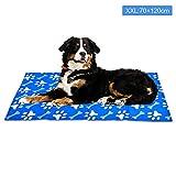 XIAPIA Kühlmatte für Hunde Kühldecke Ungiftig Gel Matte, Druck Aktiviert Selbstkühlende Decke für Welpe Katzen Innen&Draußen im Heißen Sommmer Blau (XXL(70x120 cm), Pfote)
