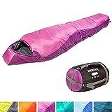KeenFlex Mumienschlafsack 350 - 3 Jahreszeiten -5℃ + 15℃ - Hochentwickeltes Wärmeregulierungssystem – Ideal für Camping, Backpacking oder Wandern (Rosa)