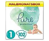 Pampers Pure Protection Windeln, Größe 1, 2-5 kg, Halbmonatsbox (1 x 102 Windeln), Mit Premium-Baumwolle Und Pflanzenbasierten Materialien
