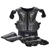 WOSAWE Kinder-Schutzkleidung mit Knieschoner Ellenbogenschoner Schutz Weste Motorrad Ganzkörperschutz Rüstung für Ski Snowboard Motocross Sport (Style1 Schwarz)