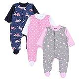 TupTam Baby Mädchen Schlafstrampler mit Fuß 3er Pack, Farbe: Farbenmix 1, Größe: 62