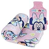 Kuscheldecke und Wärmflasche Kinder Pack Minnie Mouse – Baby Bettwäsche Minnie Mouse Sehr Weich und Wärmflasche mit Bezug bei Kälte mit Minnie Mouse Design | Originelle Geschenke für Mädchen