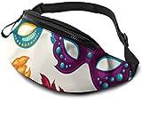 asdew987 Legerer Hüfttasche, leicht, Reise-Bauchtasche, verstellbare Lauftasche, Maskerade, verschiedene Partikel-Masken