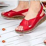 Damen Leder Sommer Schuhe Flache Weiche Strand Sandalen Römische Anti-Rutsch Open Toe Rom Schuhe Slingpumps Leichte Keilschuhe Damen Sommerschuhe,04,40