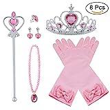 Vicloon neue Prinzessin Kostüme Set 4 Stück Geschenk aus Diadem, Handschuhe, Zauberstab, Halskette2-9 Jahre (Pulver)