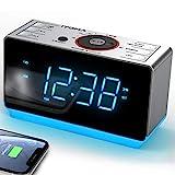 iTOMA Radiowecker mit kabellosen Bluetooth, Digital-FM-Radio, Dual-Alarm mit Schlummerfunktion,Dimmer Steuerung, Handy-USB-Ladefunktion, Nachtlicht, Backup Batterie (CKS708BT)