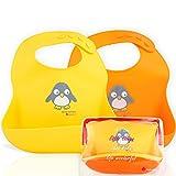 Silikon Baby Lätzchen - Wasserdichtes, leicht abwischbares Silikon-Lätzchen für Babys, Kleinkinder - Baby-Fütterungs-Lätzchen mit großer Futtertasche - Reiselätzchen Set