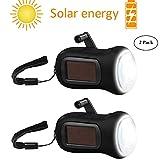 AOZBZ Solar Power Taschenlampe Taschenlampe Lampe Handkurbel LED-Taschenlampe Handkurbel Taschenlampe Solarbetriebene Notfackel für Trip Camping Outdoor Wandern 2 Pack