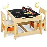 GOPLUS 3tlg. Kindersitzgruppe, 1 Kindertisch mit 2 Stühle, Kindermöbel Set Holz, Sitzgruppe für Kleinkinder, Mädchen und Jungen