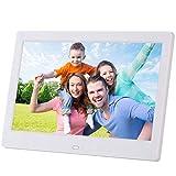 10 Zoll Digitaler Bilderrahmen mit Motion Sensor 1024 × 600 IPS-Bildschirm Digital Frame für Bild Musik Video Player Kalender Uhr,Weiß