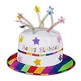Relaxdays Unisex– Erwachsene Happy Birthday Hut Torte, Geburtstagshut mit Kerzen, Partyhut Geburtstagstorte, Plüschhut Party, weiß & bunt, bunt, Standard